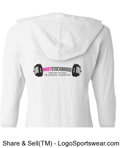 J. America - Ladies 3/4 Sleeve Hooded Slub Tee Design Zoom